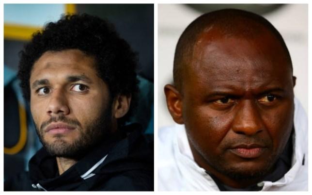 Arsenal midfielder Mohamed Elneny and Arsenal legend Patrick Vieira