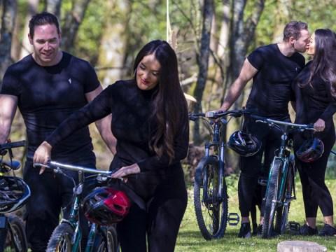 Katie Price's ex Kieran Hayler plants kiss on fiancee Michelle Penticost during sunny bike ride