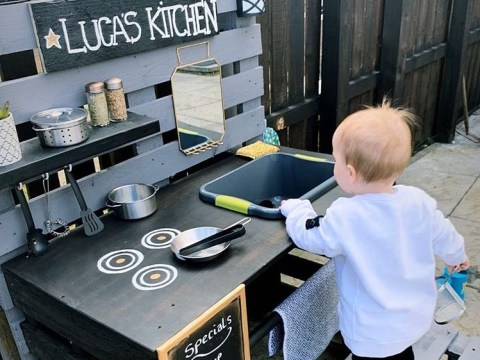Mum makes son his own snazzy mud kitchen out of old wooden pallets for just £10 while in lockdown