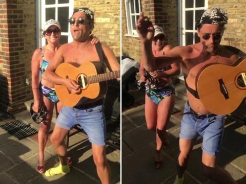 Shirley Ballas looks fire in a bikini as she performs in the garden with boyfriend Daniel Taylor