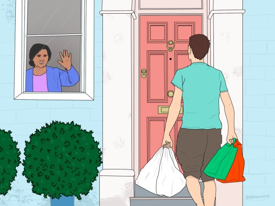 Illustration of a man delivering groceries to someone at home
