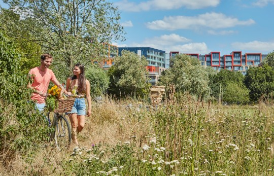 Landscape shot of park surrounding Greenwich Millennium Village with couple going for a cycle in the sunshine.