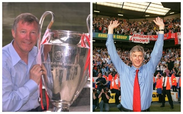 Former Man Utd manager Sir Alex Ferguson and former Arsenal manager Arsene Wenger