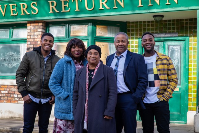 The Bailey family with Baroness Lawrence in Coronation Street