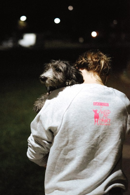 Photo of a man's back, with a dog peeking over his shoulder