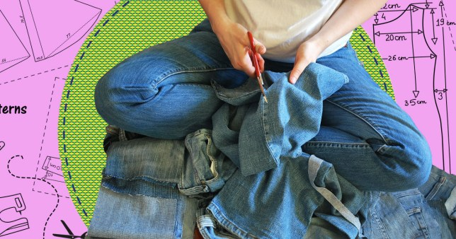 Image of a woman sat on the floor cutting jeans, against a pink and green background with sewing measurements