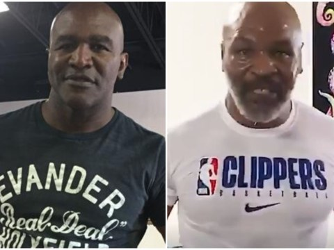 Evander Holyfield reacts to Mike Tyson agreeing to fight Roy Jones Jr