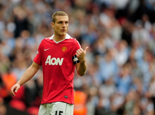 LONDON, ENGLAND - APRIL 16: Nemanja Vidic of Manchester United gestures during the FA Cup sponsored by E.ON semi final match between Manchester City and Manchester United at Wembley Stadium on April 16, 2011 in London, England.  (Photo by Jamie McDonald/Getty Images)