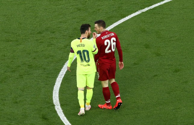 Liverpool defender Andy Robertson apologises to Barcelona star Lionel Messi