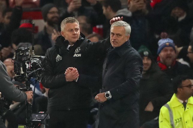 Ole Gunnar Solskjaer and Jose Mourinho shake hands after Manchester United's Premier League clash with Tottenham