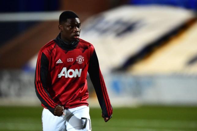 Teden Mengi warms up before Tranmere Rovers v Manchester United U23: EFL Trophy