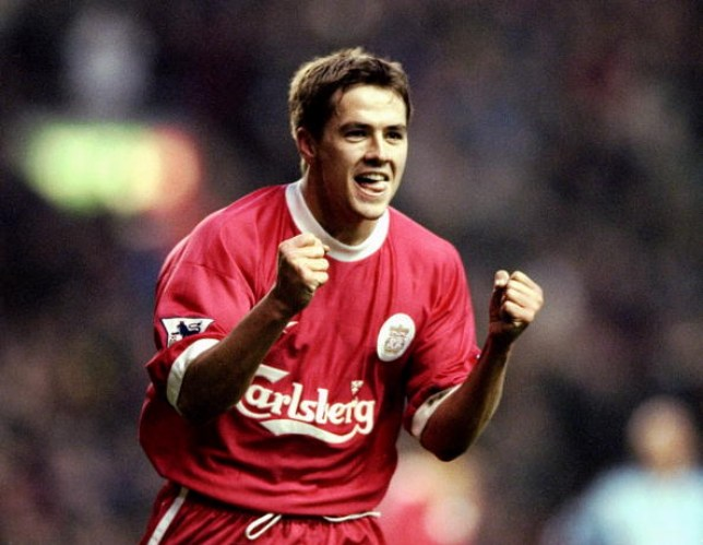 18 Dec 1999:  Michael Owen of Liverpool celebrates his goal during the FA Carling Premiership match against Coventry City at Anfield in Liverpool, England. Liverpool won 2-0.  Mandatory Credit: Clive Brunskill /Allsport (Credits: Getty Images)