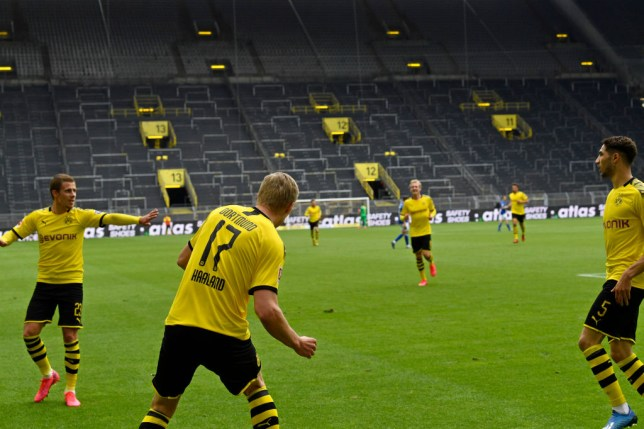 Erling Haaland does social distanced celebration as Borussia Dortmund net first post-lockdown goal