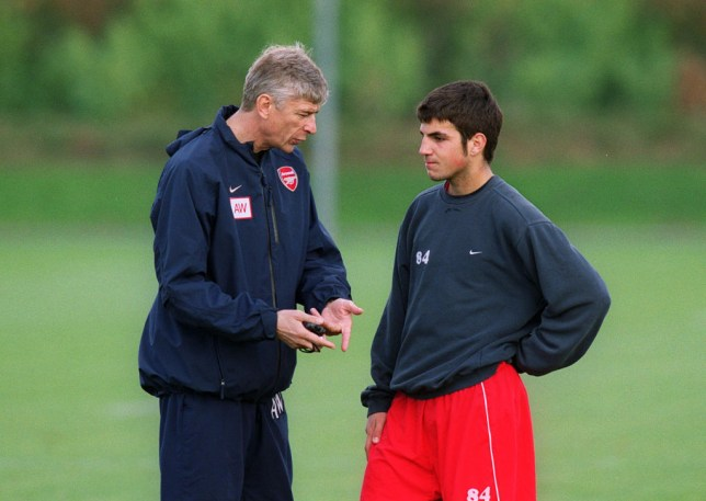 Former Arsenal star Cesc Fabregas with Arsene Wenger