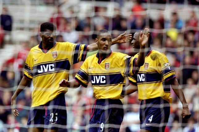 Nwankwo Kanu and Nicolas Anelka and Patrick Vieira at Arsenal celebrating a goal
