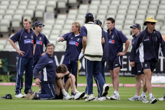 Glenn McGrath injured himself ahead of the second Test of the 2005 Ashes series