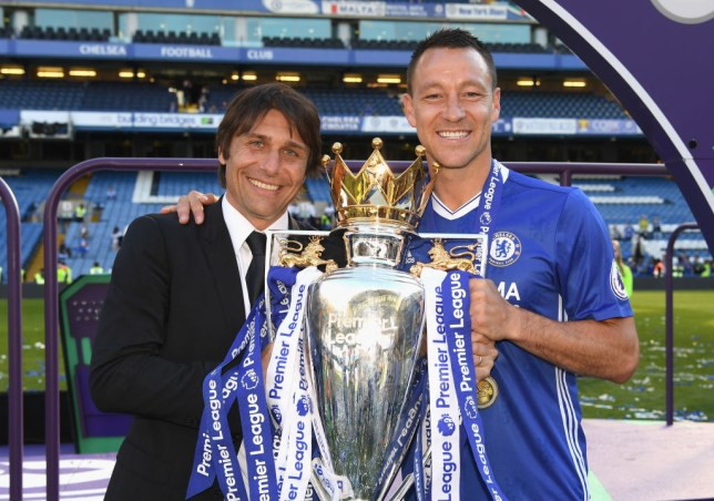 John Terry won the Premier League title with Antonio Conte at Chelsea in 2017