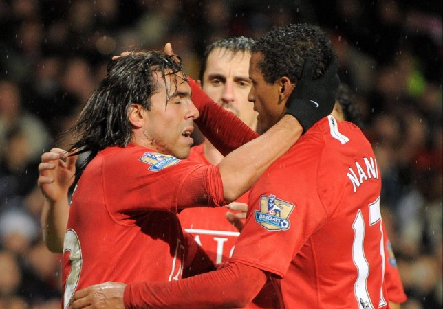 Former Manchester United striker Carlos Tevez and Gary Neville