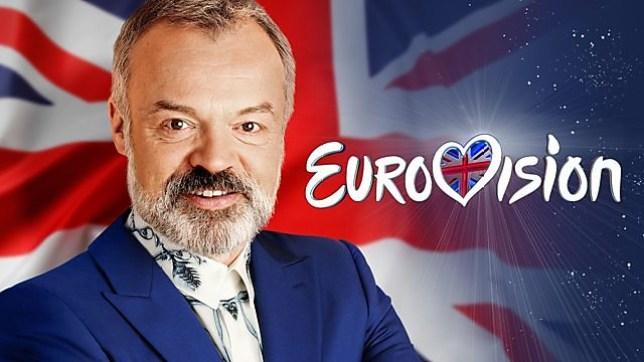 Graham Norton next to the Eurovision logo