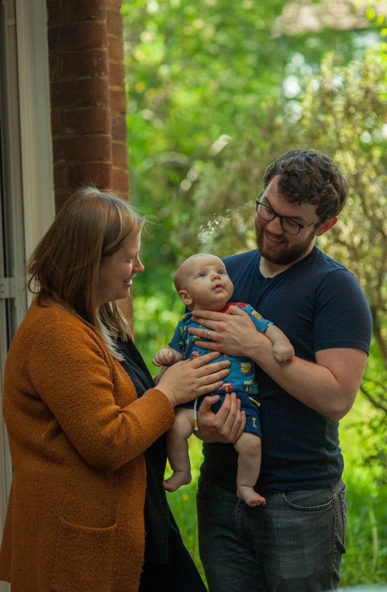 Portrait of Fran Nelson at the door: Ben, Alice and Isaac