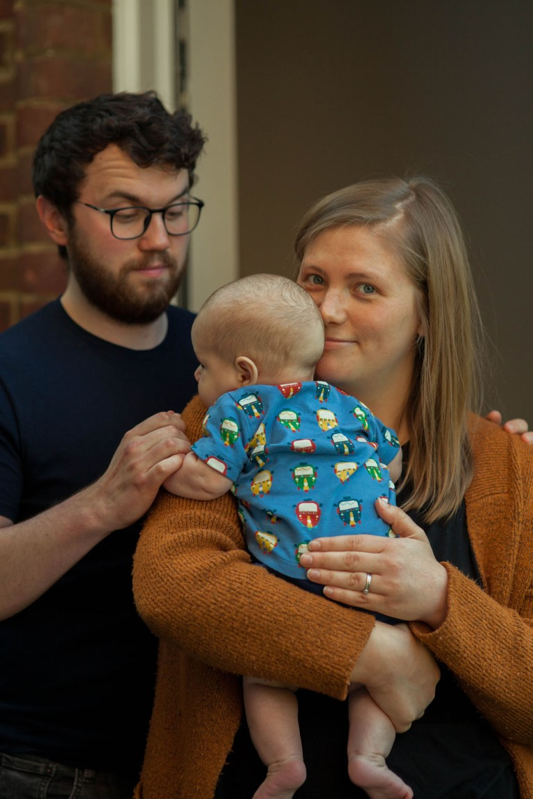 Portrait of Fran Nelson at the door: ben, alice, and three-month-old son of Isaac