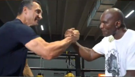 Wladimir Klitschko appears to be helping Evander Holyfield prepare for his return