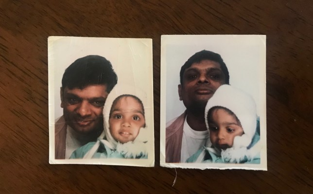 Varsha Patel as a baby with her father