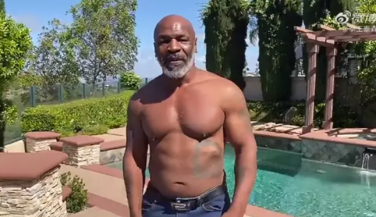 Mike Tyson showed off his impressive physique in a video to fans this week