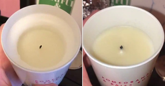 Split image showing before and after shots of the candle.