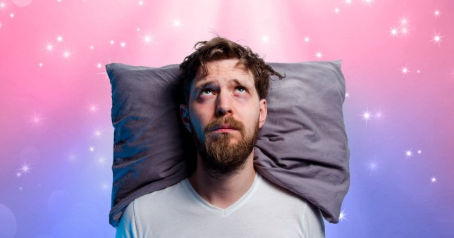Man resting head on pillow unable to sleep