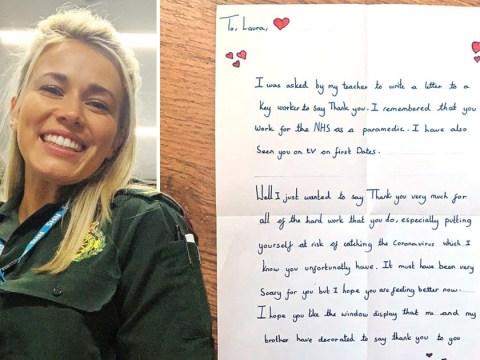 First Dates' Laura Tott receives adorable handwritten note from young neighbour after battling coronavirus