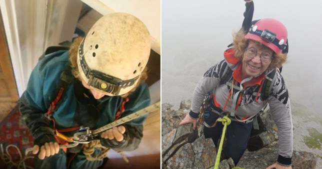 Judith climbing at home (left), and before lockdown, climbing outside (right)