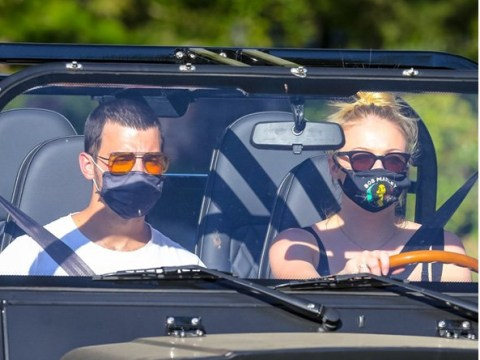 Joe Jonas and Sophie Turner don face masks to take their new green-friendly electric car for a spin