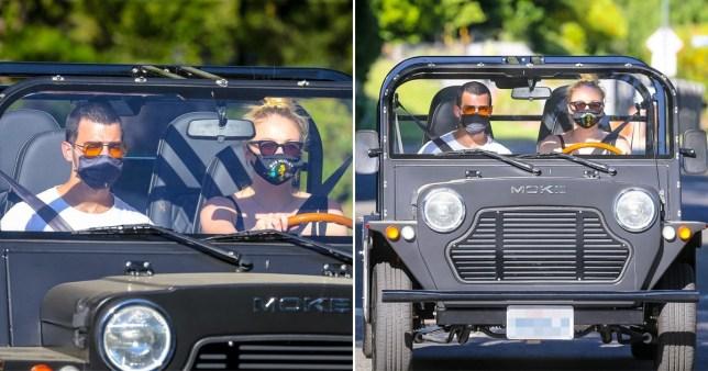 Joe jonas has a new electric car with Sophie Turner