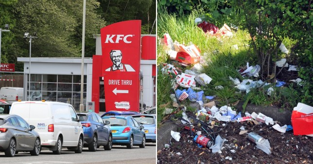 KFC was criticised after pictures on social media showed litter dumped near restaurants at various locations across the country