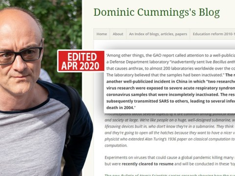 Dominic Cummings 'edited blog to make it look like he warned of coronavirus'