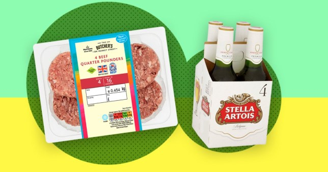 burger patties and stella artois bottles as part of Morrisons £4 burger and beer deal
