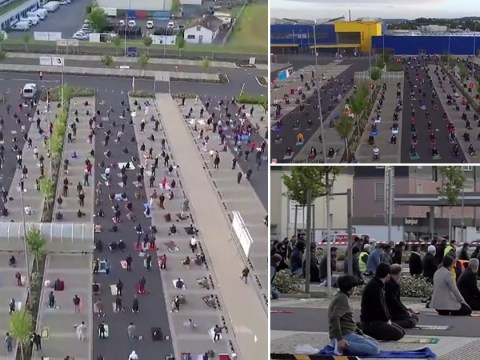 Hundreds of Muslims gather in Ikea car park to mark Eid with social distancing