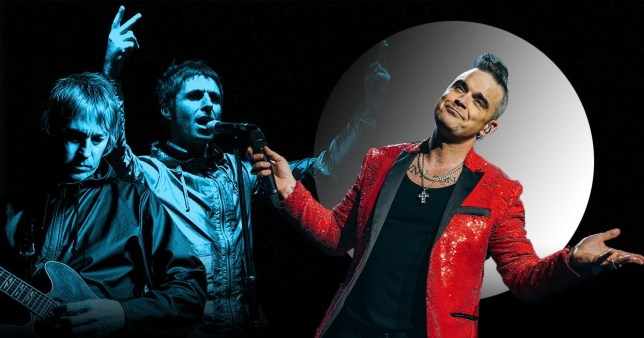 Robbie Williams pictured alongside Liam Gallagher band Beady Eye
