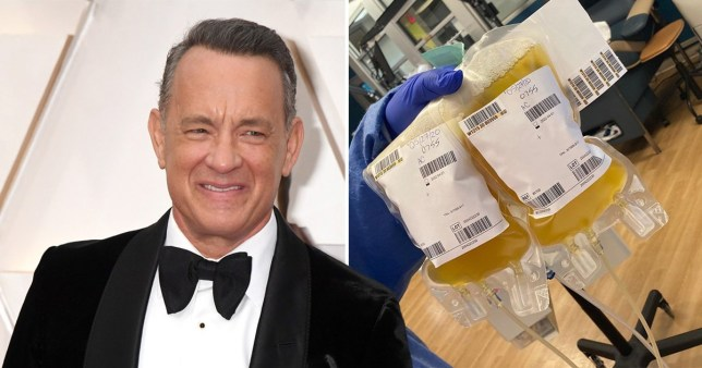 Tom Hanks pictured on the red carpet alongside picture of his plasma donation