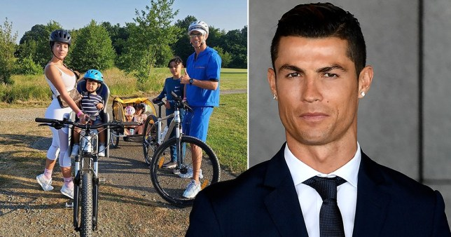Cristiano Ronaldo pictured out for a family bike ride with girlfriend Georgina and kids
