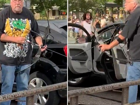 Man aims bow and arrow at protesters before crowd tackles him