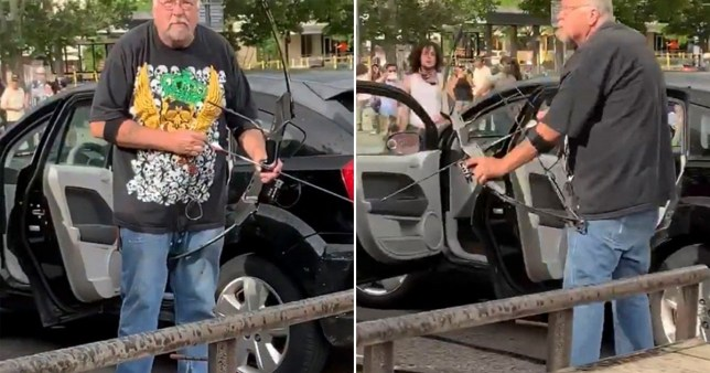 L'homme prend l'arc et la flèche au milieu des manifestations de George Floyd à Salt Lake City, Utah.