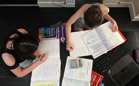 Lulu Byrne aged 13 and Maisy Byrne aged 15 take part in home schooling