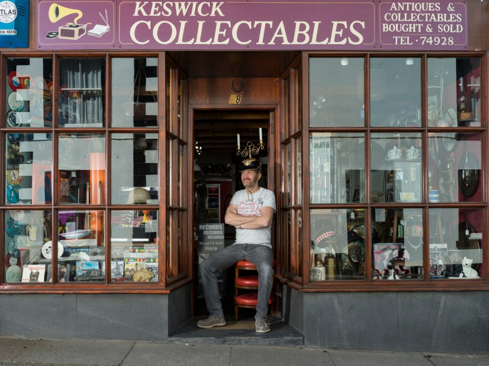 Mark Stainton, Keswick Collectables, shop in St Johns Street, closed since 22 March (Pi