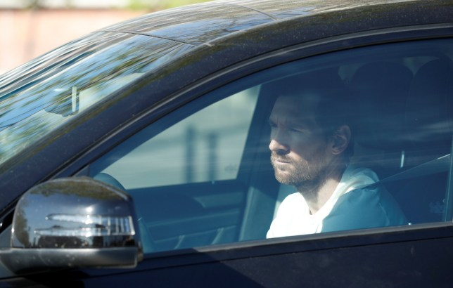 FC Barcelona's Lionel Messi arrives at Ciutat Esportiva Joan Gamper for COVID-19 tests following the outbreak of the coronavirus disease