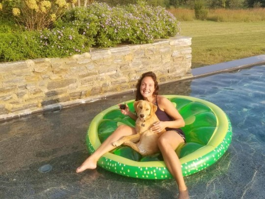 Laura Fisher dog sitting in USA