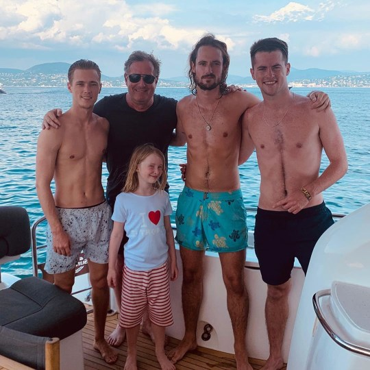 Piers Morgan with three sons: Spencer Morgan, Stanley Morgan, Bertie Morgan (Picture: Piers Morgan/Instagram)