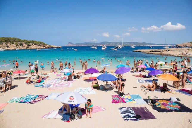 IBIZA, SPAIN - AUGUST 29: General view at Cala Bassa beach on August 29, 2018 in Ibiza, Spain. The beaches of Ibiza are famous for its clear water and Ibiza is a popular tourist destination in summer. (Photo by Iconic#All/Getty Images)