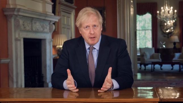 Screen grab of Prime Minister Boris Johnson addressing the nation about coronavirus